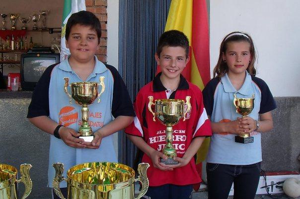 Podium-alevines-XV-Copa-Federación-de-bolo-andaluz
