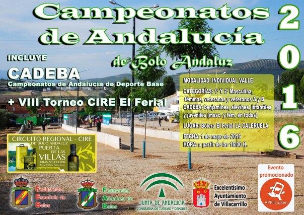 Cartel Campeoanto de Andalucía Valle bolo andaluz red